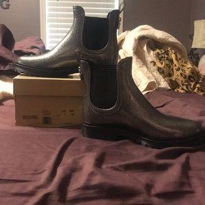 Michael Kors silver glitter rain boots NWOT